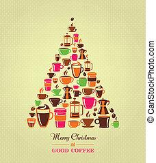 Vintage Christmasmas Baum Kaffee Ikonen.