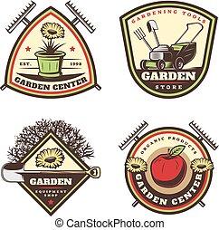 Vintage colored jardining emblems set.