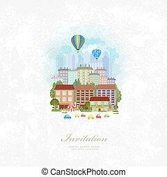Vintage Einladungskarte mit Heißluftballons über eine Stadt.