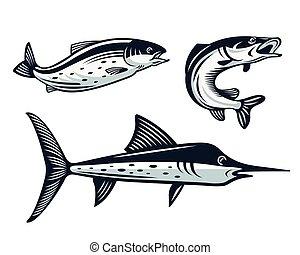 Vintage Fish Logo setzt Illustration.
