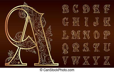 Vintage-Foral Alphabet-Set