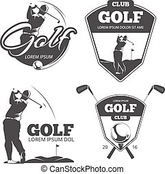 Vintage Golf Vektor Etiketten, Abzeichen und Embleme
