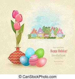 Vintage Grußkarte mit Tulipsvase und bunten Eiern auf a.