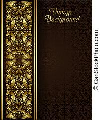 Vintage-Hintergrund mit Goldfaligree Grenze und nahtlosem Muster