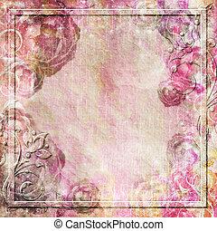 Vintage-Hintergrund mit Rosen und wirbelnde Grenze