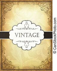 Vintage-Hintergrund mit Schmuckrahmen. Drehmoment, EPS10