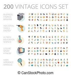 Vintage Icons für Business und Technologie.
