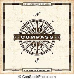 Vintage Kompass-Label