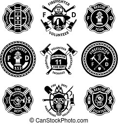 Vintage-Monochrome-Feuerwehr-Label eingestellt.