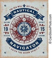 Vintage nautischer Nautiker Typografie