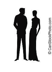 Vintage Paar in Silhouette.
