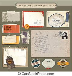 Vintage-Papiere und Elemente