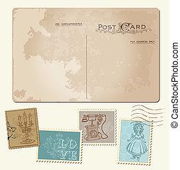 Vintage Postcard und Poststempel - für Hochzeitsdesign, Einladung, Glückwunsch, Sammelalbum