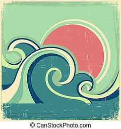 Vintage-Poster. Vectors abstraktes Seehafen-Poster mit Seewellen und Sonne auf dem alten Poster
