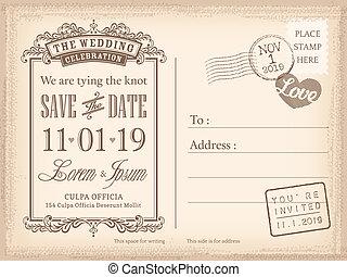 Vintage Postkarte speichern den Hintergrund für die Hochzeitseinladung.