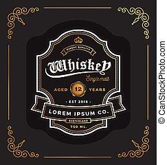 Vintage Rahmen Label Design. Passend für Whiskey und Wein, Restaurant, Bieretikett. Vector Illustration