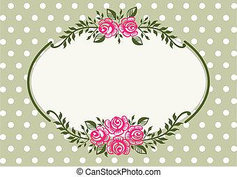 Vintage Roses grüner Rahmen