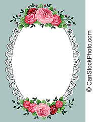 Vintage Roses ovales Bild