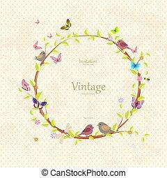 Vintage süßer Blumenkranz mit schönen Vögeln für Ihr Design.