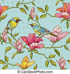 Vintage Seamless Background - Blumen und Vögel - für Design und Scrapbook in Vektor.