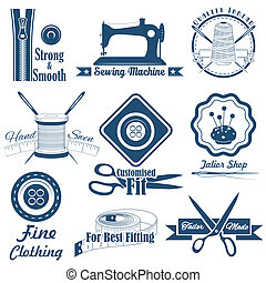 Vintage Style Näh- und Schneider-Label.