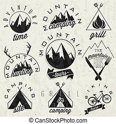 Vintage-Symbole für den Berg