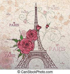 Vintage Vektor Illustration des Eiffelturms auf grunge Hintergrund.