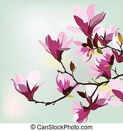 Vintage watercolor Hintergrund mit blühenden Magnolien