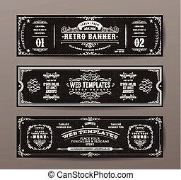 Vintage Web Banners Vorlagen gesetzt.