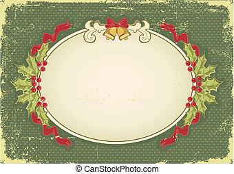 Vintage-Weihnachtskarte mit Weihnachtselementen zum Design
