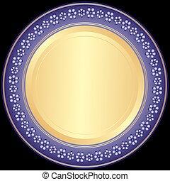 Violet-goldene dekorative Platte.