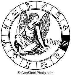 Virgo zodiac schwarzweiß.