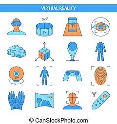 Virtual Reality Icon in farbigen Linien