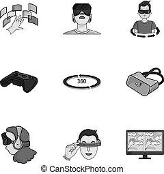 Virtual Reality set Icons in monochrome Stil. Große Sammlung virtueller Reality-Vektor-Symbol-Aktivierung