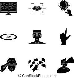 Virtual Reality set Icons in schwarz. Große Sammlung virtueller Reality-Vektor-Symbol-Aktivierung