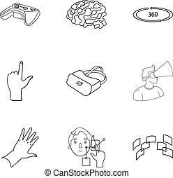 Virtual Reality set Icons in Umriss-Stil. Große Sammlung virtueller Reality-Vektor-Symbol-Aktivierung