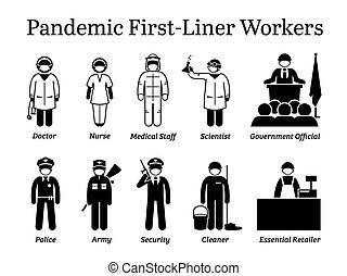 virus, first-liner, cliparts., arbeiter, pandemisch