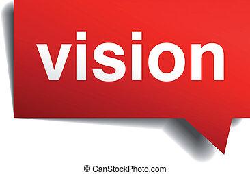 Vision Red 3d realistische Papier Rede Blase isoliert auf weiß.