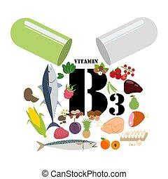 vitamin, abbildung, b3