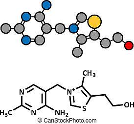 Vitamin B1 (Thiamine) Molekül.