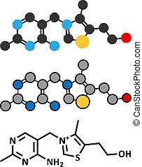 Vitamin B1 (Thiamine) Molekül. Stylisierte 2D Rendering und konventionelle Skelettformel.