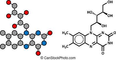 Vitamin B2 (riboflavin) Molekül.