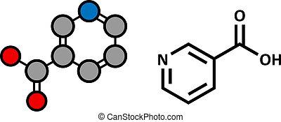Vitamin B3 (niacin) Molekül.