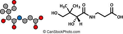 Vitamin B5 (pantothenische Säure, pantothenate) Molekül.