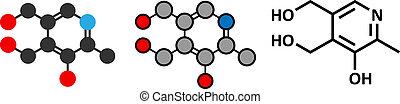 Vitamin B6 (Pyridoxin) Molekül. Stylisierte 2D Rendering und konventionelle Skelettformel.