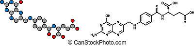 Vitamin B9 (folische Säure) Molekül.