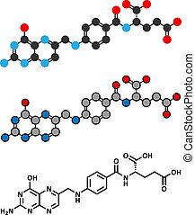 Vitamin B9 (folische Säure) Molekül. Stylisierte 2D Rendering und konventionelle Skelettformel.