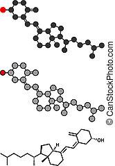 Vitamin D (D3, Cholecalciferol, Toxiferol) Molekül. Stylisierte 2D Rendering und konventionelle Skelettformel.