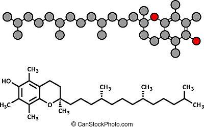 Vitamin E (Alpha Tocopherol) Molekül.