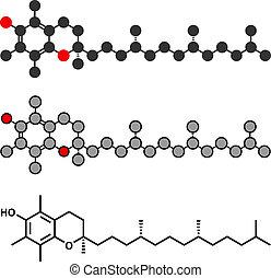 Vitamin E (Alpha Tocopherol) Molekül. Stylisierte 2D Rendering und konventionelle Skelettformel.